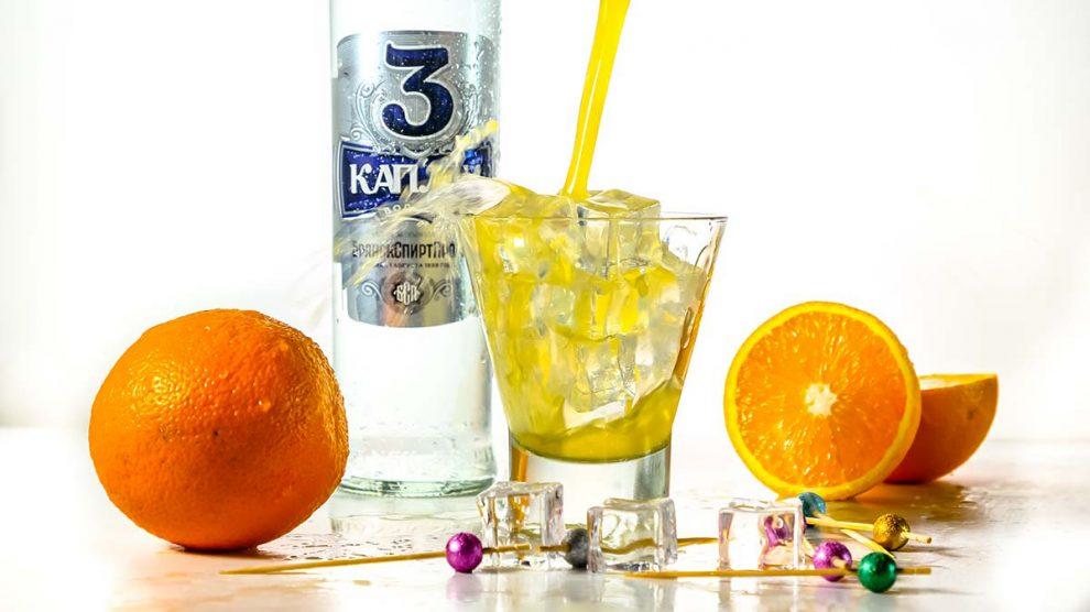 коктейль Отвертка с водкой Три капли Брянскспиртпром
